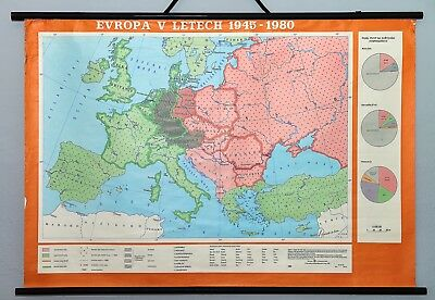 Vintage Antique rare school wall chart Original Map  Europe in 1945 - 1980