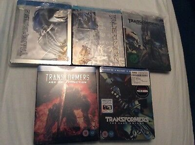 Transformers Blu-Ray Steelbook Collection. Bumblebee, Optimus Prime. All 5 Films