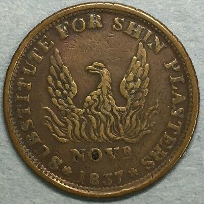 1837 Hard Times Token May Tenth Phoenix Nice Early 19th Century Token #ZS141