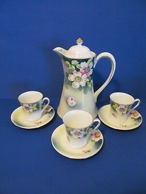 Vintage NIPPON Hand Painted Chocolate Pot Set w/ 3 Cup & Saucers