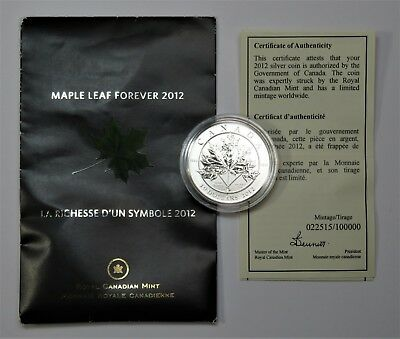 2012 Silver Canadian Maple Leaf Forever 1/2 Oz $10 Dollars Canada Coin #19633D