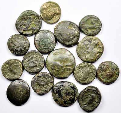 Good Group of 16 Ancient Greek Bronze Coins (03)