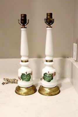 Vintage Pair Milk Glass Lamps with Hand Painted Grape Leaf