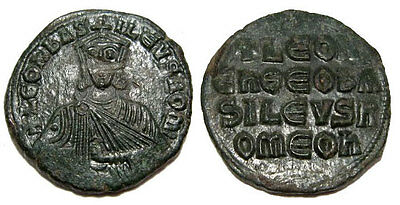 BYZANTINE EMPIRE , NICE LEO VI (the Wise), AE Follis , 24,5 mm. 866-912 AD.+++
