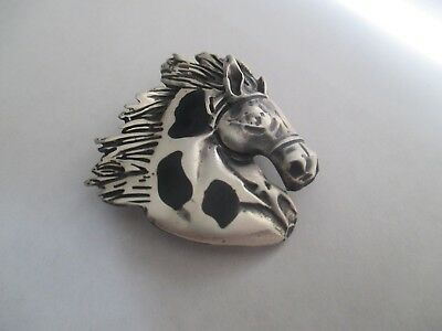 Horse Head Pin/Pendant .STERLING SILVER..Big..Solid and Sturdy..Great Look..New.