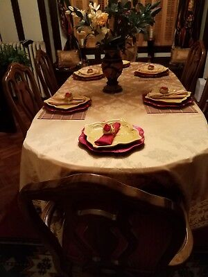 Complete Formal Dining Room Set, Table,  Drop Leaves 6 Chairs & China Cabinet