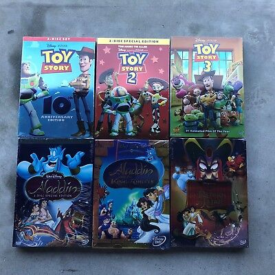 Toy Story Trilogy 1 2 3 and Aladdin Trilogy DVD Movie Bundle 6 Movies!