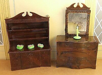 Vintage Miniature Renwal Usa Dollhouse Brown Dresser & Dining Room Hutch Cabinet