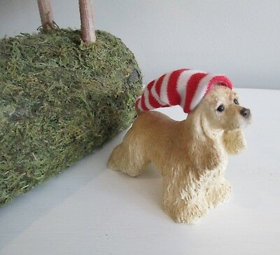 "Vintage Stone Critter's Cocker Spaniel with Christmas Hat Miniature 3 1/2"" SC311"