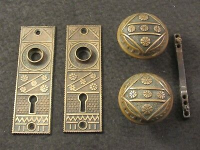 Great Pair of Antique 1800's Brass F.C. Linde Eastlake Door Knobs + Backplates