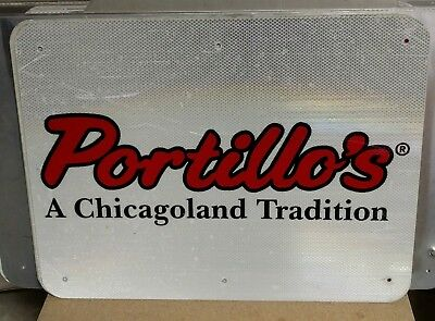 "PORTILLO'S Reflective Interstate Highway Sign 18"" X 24"" MAN CAVE POOL"