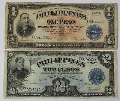 1944 One 1 Peso & 2 Pesos Philippines Note Paper Bill World Currency Lot #19639F