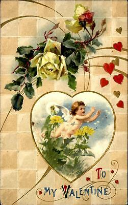 To My Valentine ~ cupid heart yellow rose beautiful design Winsch back 1910