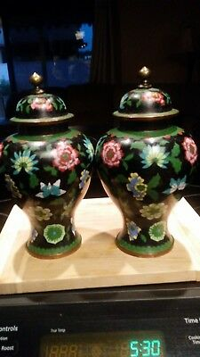 Pair Antique Chinese Cloisonne lidded urns vases jars flowers
