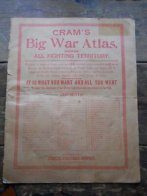 Cram's Big War Atlas Ariel Library Series No.16 April,1898 Military Info & Maps