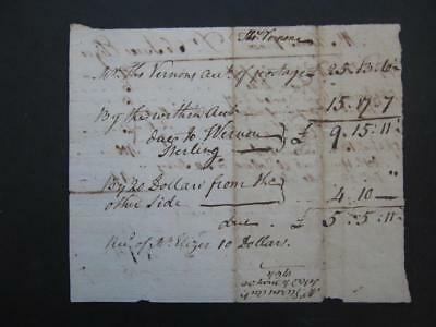 1764 Thomas Vernon Signed Receipt/Benjamin Franklin Postmaster/Revolutionary War