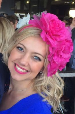 Hot Pink Fuschia Flowers Fascinator Crown Headband Races Wedding Melbourne Cup