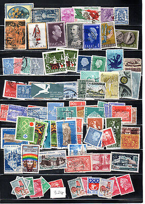 A collection of European stamps,France Italy Greece Belgium Norway Sweeden #324.