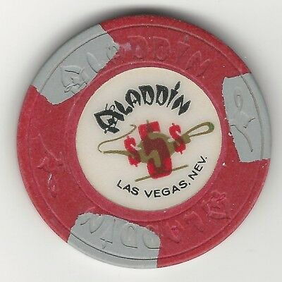 "Aladdin Casino, Las Vegas, Vintage $5 Chip, 1980's, N1325, Value ""h"""
