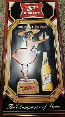 Rare Miller High Life Lady In Moon Metal Beer Bar Sign Mint Unused Tall