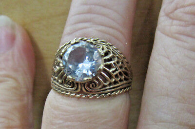 Estate 10K solid Gold Dome Shaped Filigree Clear Stone RIng 3.5 grams