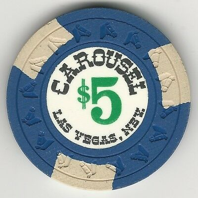 "Carousel Casino, Las Vegas, Vintage $5 Chip, 1968, N1423, Value ""f"""