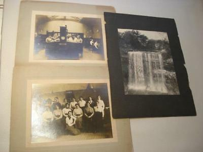 3 Antique 19Th Century Photos~2 Silver Gel Office Workers~Minnehaha Falls~