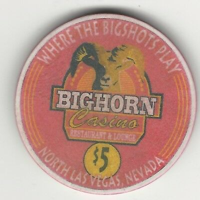 "Bighorn Casino, Las Vegas, Vintage $5 Chip, 1999, V2152, Value ""d"""
