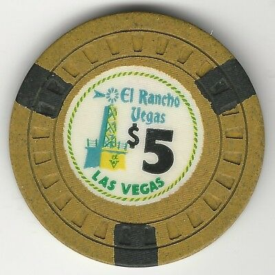 "El Rancho Vegas Casino, Las Vegas, Vintage $5 Chip, 1955, N1563, Value ""k"""