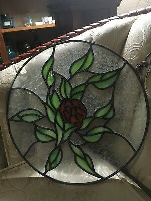 Vintage Stained Glass Wall Hanging Window Panel Red Rose Round