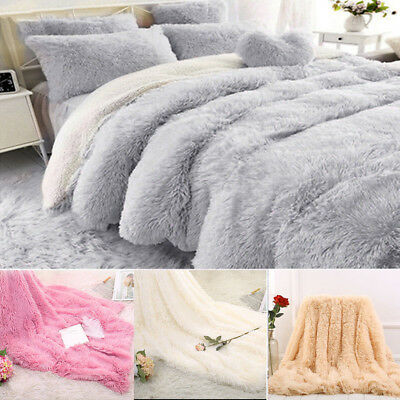 Throw Sofa Bed Blanket Super Soft Luxury Warm Shaggy Long Pile Faux Fur Throw
