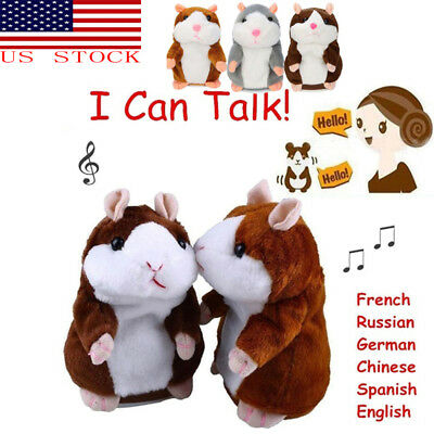 US Talking Hamster Electronic Plush Toy Mouse Pet Sound Xmas Gift For Children