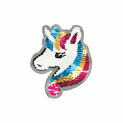 Reversible Double Sequin Unicorn (Sew On) Embroidery Applique Patch Sew Badge