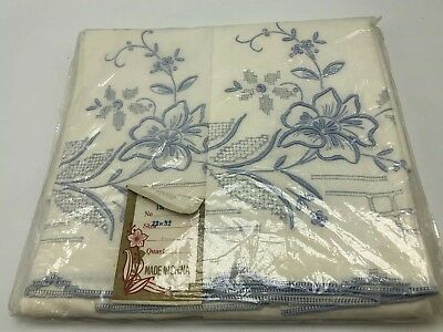 Vintage White Pillowcases Embroidered Blue Flowers Set 2 NOS