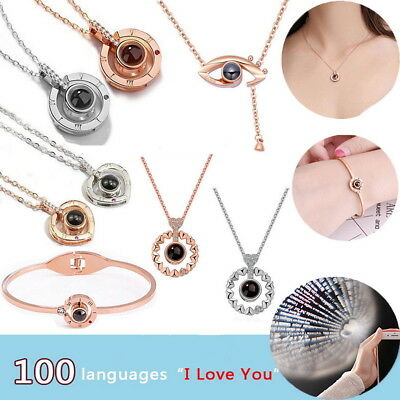 100 Language I Love You Memory Necklace Rose Gold Roman Numeral Crystal Necklace