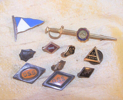 VINTAGE lot of 3 college / university / school pins, Ole Miss, OSS VERY OLD