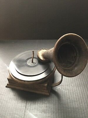 """Antique childs """"VICTROLA phonograph""""w/ Horn heavy medal base and turntable"""