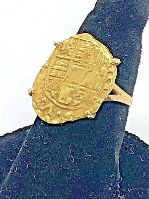 Vintage 14K Ring With Gold Doubloon Shipwreck Coin? Signed Ring