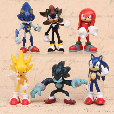 Sonic 6 PCS The Hedgehog Knuckles Shadow Action Figure Cake Topper Doll Gift Toy
