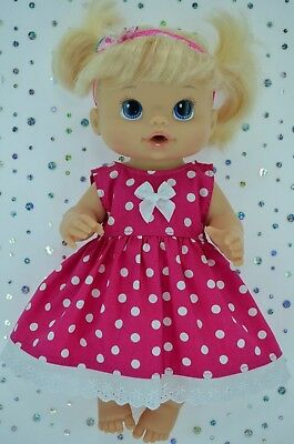 """Play n Wear Doll Clothes To Fit 13"""" Baby Alive  HOT PINK DOT DRESS~HEADBAND"""