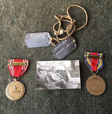 WWII U.S. Army ~ Named Good Conduct Medal & Dog Tags ~ Misc. Personal Items