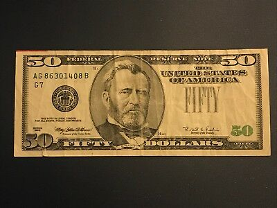 1996 $50 obstruction error - missing green seal and serial number