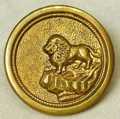 Antique VINTAGE Button VICTORIAN Stamped Brass LION on a Cliff Edge  *A41