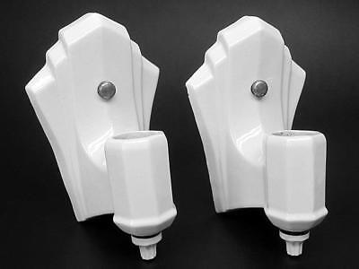 Pair of Vintage Art Deco Porcelain Bathroom Wall Sconce Light Fixtures
