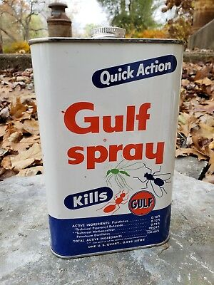 NOS Vintage Gulf Insect Spray Can Gas Oil Advertising MINT Full Unopened Quart