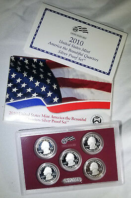 2010 America The Beautiful Silver Quarters Proof Set With Coe In Original Box