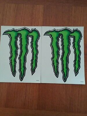 "(2) Large Monster Energy Sticker / Decal 8.5"" by 6"" **FREE 3""x4"" Sticker**"
