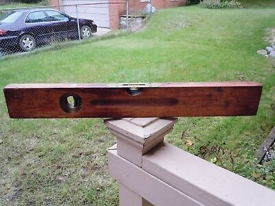 """Early Antique Stanley 24"""" Wood Level"""