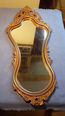 Antique  Art Nouveau Gold Gilt Carved Ornate floral Scroll Wall Entryway Mirror