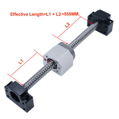 SFU1204 C7 Ball Screw Stroke Length 550mm &BK/BF10 Nut Bracket Coupler CNC lathe